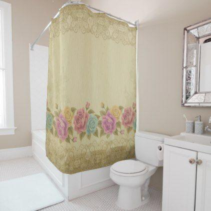 Rusticshabby Chicfloralrosesgarlandchicparch Shower Curtain