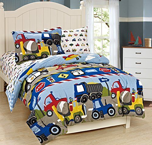 Kids Comforter Sets Mk Collection Twin Size Trucks Tractors