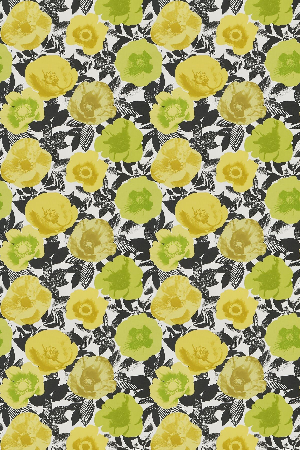 Black and Yellow Floral Print Fabric