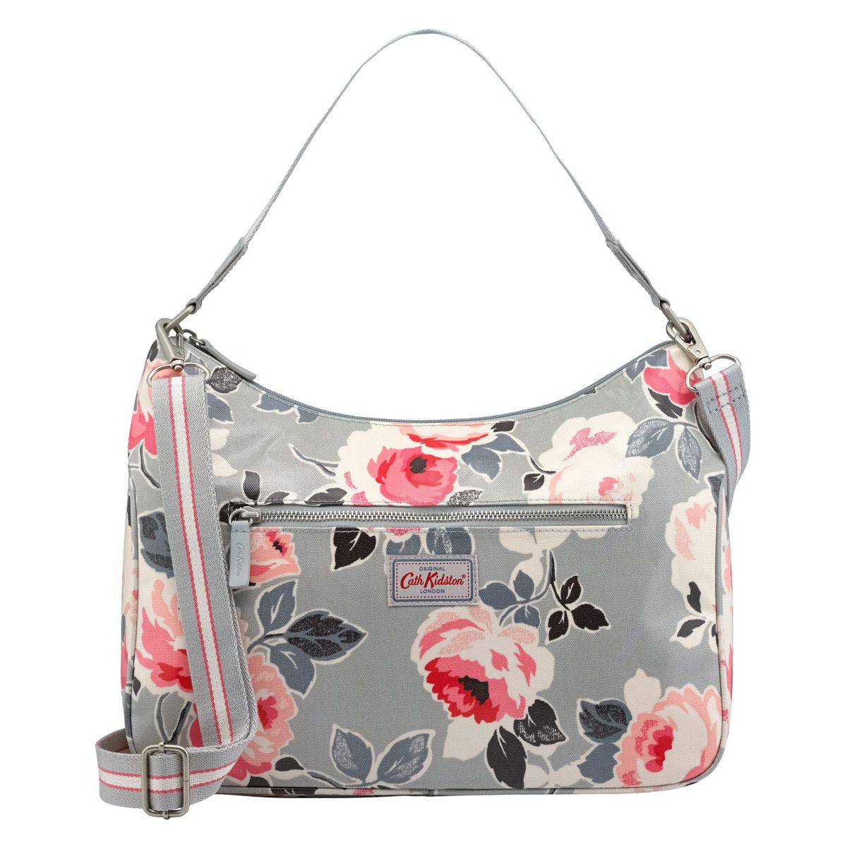 Our curve shoulder bag is the perfect pared-back handbag for every day. It comes in a grey floral, Paper Rose, with an additional long strap to wear it your way.