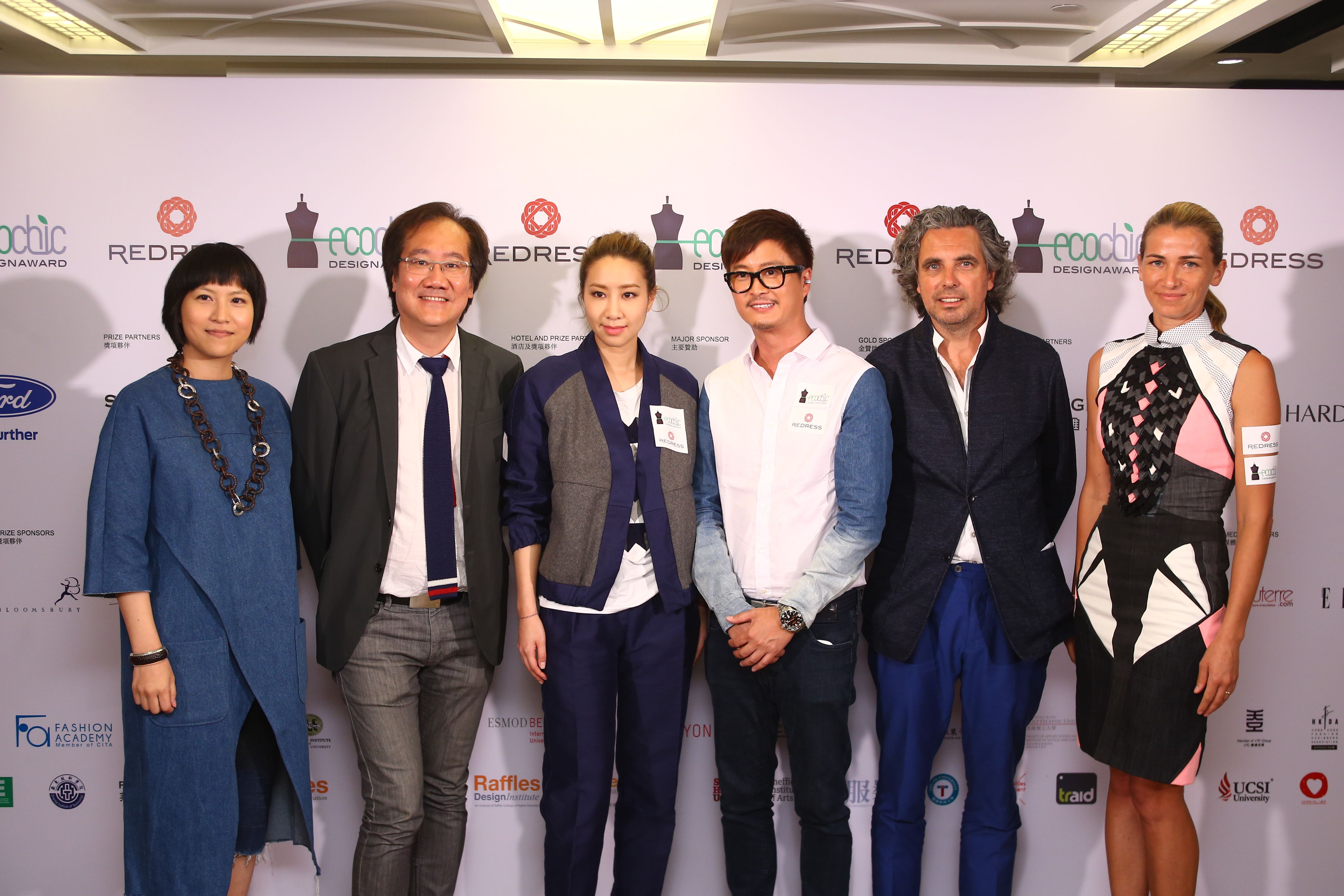 From left to right, Cherry Wong, The EcoChic Design Award co-founder, Jerry Liu, Head of CreateHK, Kary Ng, EcoChic Design Award 2014/15 Alumni Prize partner, Dorian Ho, international judge, Raphael le Masne de Chermont, Executive Chairman of Shanghai Tang, and Christina Dean, Redress CEO, at the competition launch event on 3 June 2014 ECDA2014 designcompetition launchevent hongkong sustainablefashion createhk shanghaitang