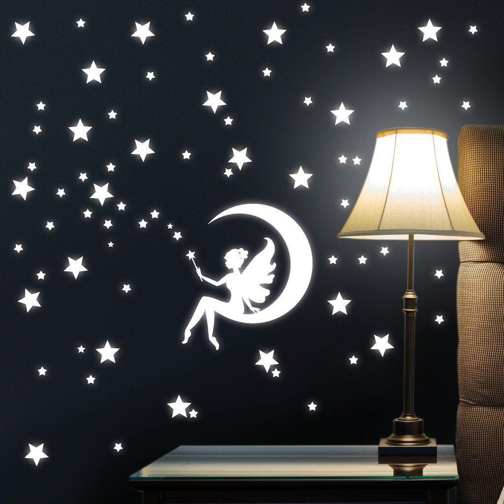 Wandtattoo Loft Fluoreszierende Zauber Fee Auf Einem Mond Mit Sternen Leuchtaufkleber Wandtattoo Fluoreszierende Le Kinder Zimmer Wandgestaltung Wandtattoo