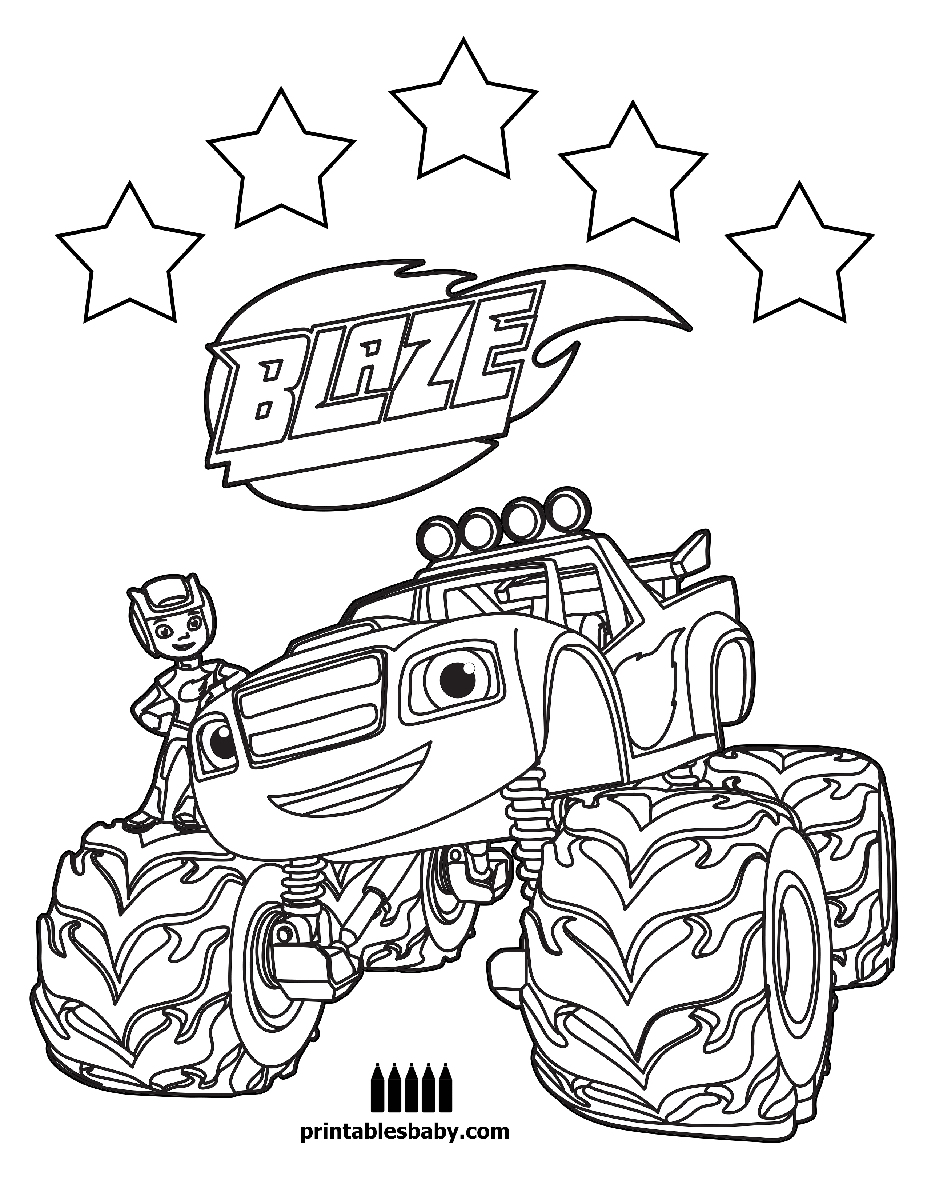 Blaze and the monster machines printables baby free cartoon coloring pages