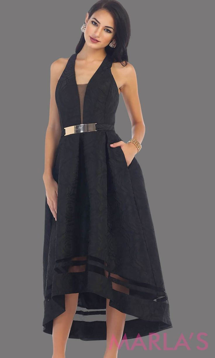 High low black dress with gold belt this is a beautiful halter