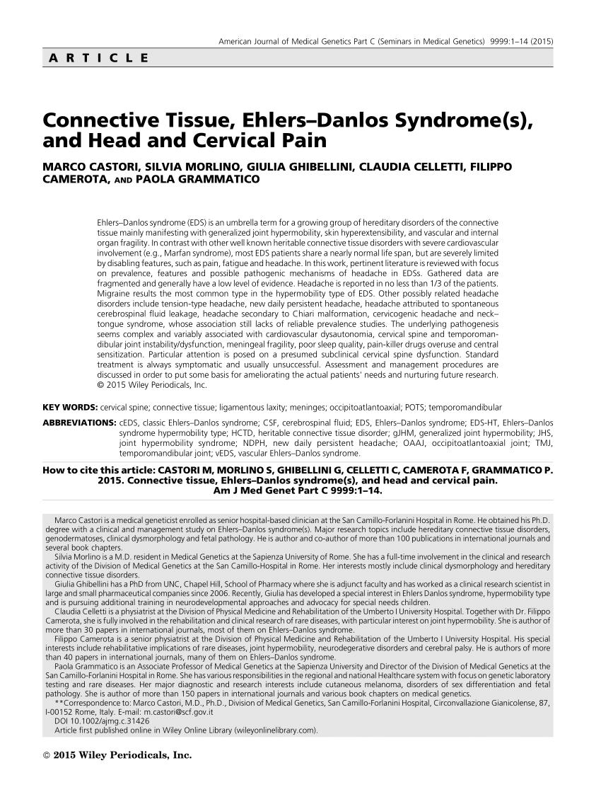 PDF on ResearchGate | Ehlers-Danlos syndrome (EDS) is an
