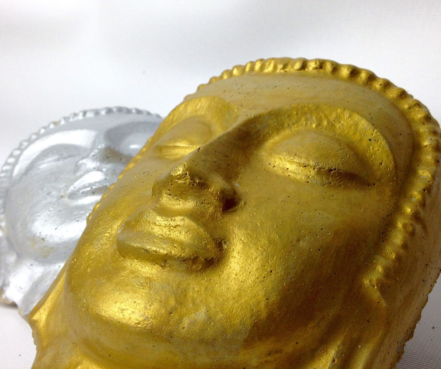Concrete Buddha Head Gold/silver Painted Buddha Face Cement Garden ...