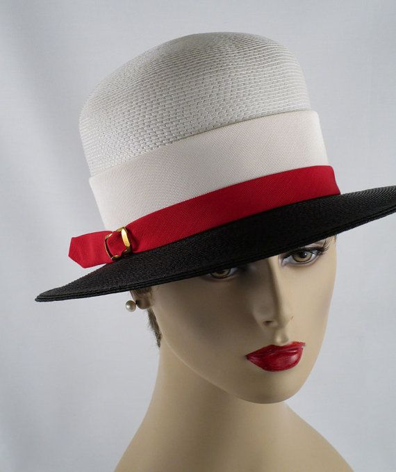 Vintage Straw Hat Wide Brim White Red and by alleycatsvintage