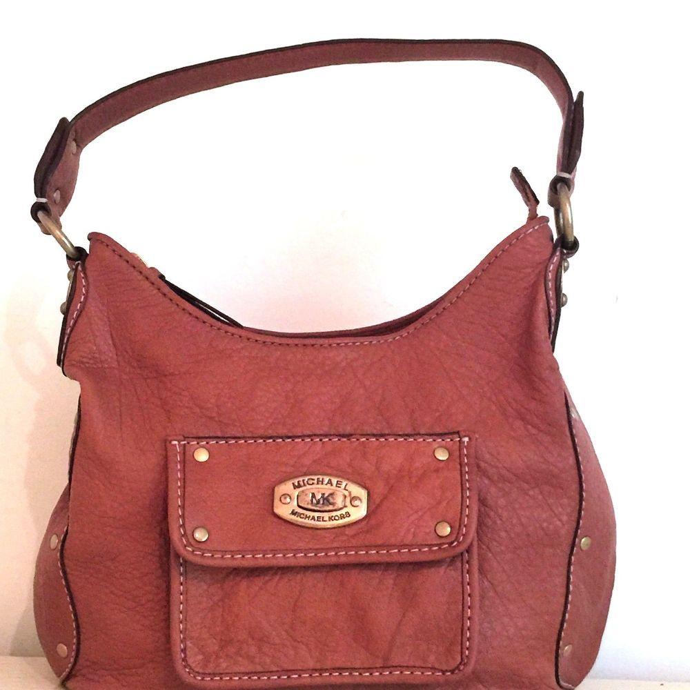 Auth Michael Kors Mk Designer Luggage Brown Boutique Shoulder Handbag Hobo Purse