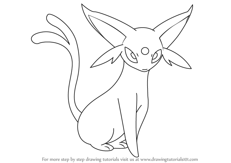 Learn How To Draw Espeon From Pokemon Pokemon Step By Step