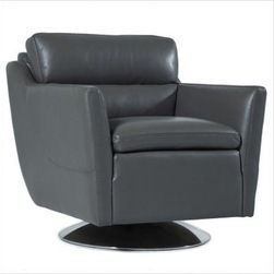 Moroni - Moroni - Clio Top Grain Leather Swivel Chair in Grey - 528 - Swivel chair
