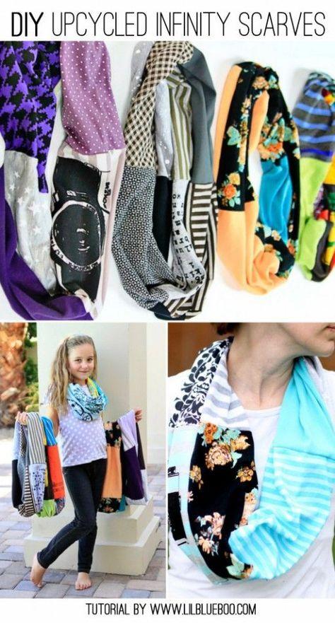 DIY Upcycled Infinity T-Shirt Scarf   Quadrate, Shirts und Nähen