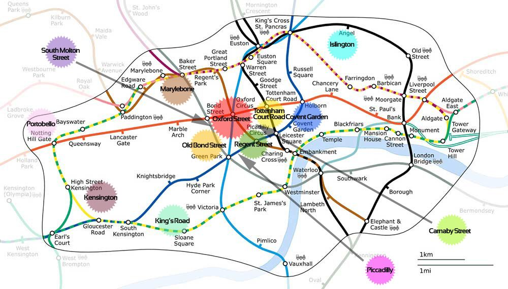 Street Map Of London With Tube Stations.London Attractions Map Shopping Map How The Shopping Districts