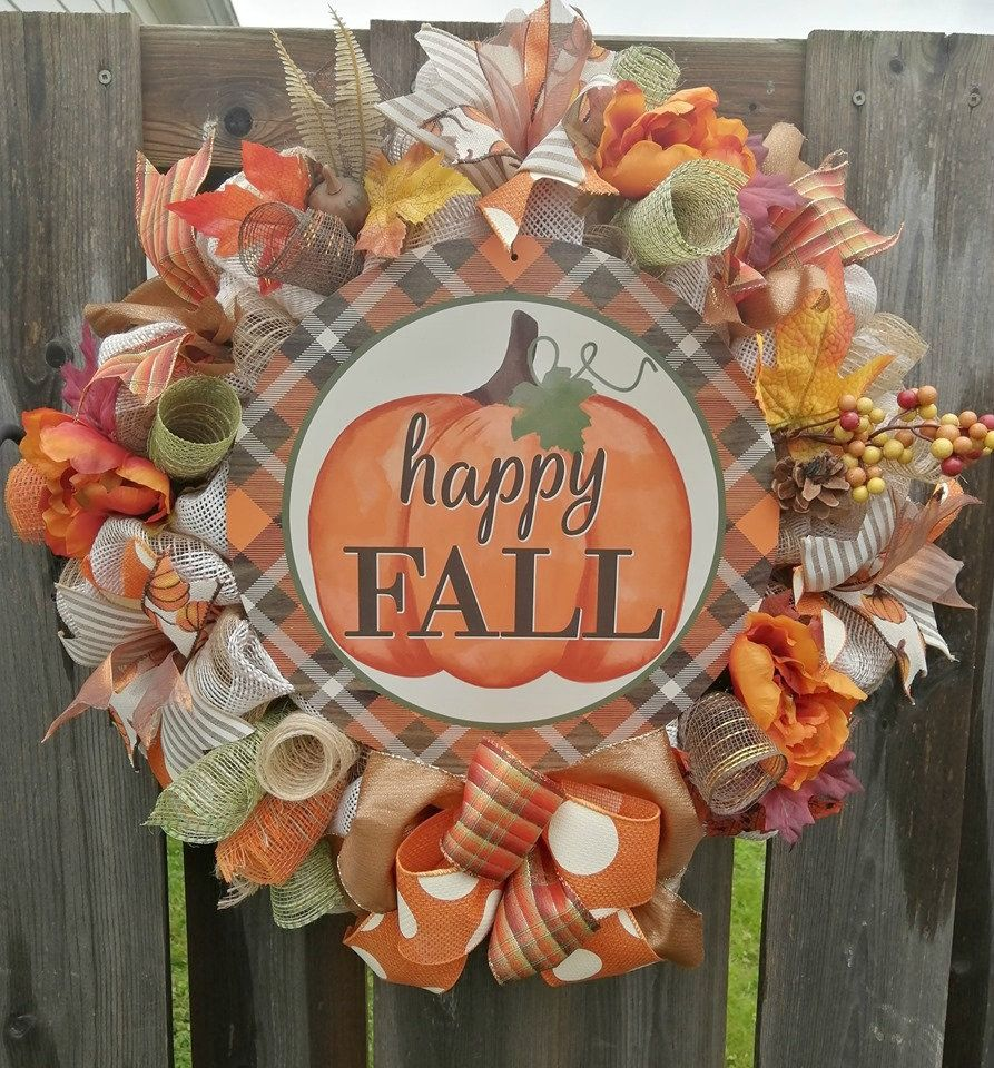 Sign for Autumn Decor Fall Wreath Sign Happy Fall Sign Autumn Sign for Wreaths
