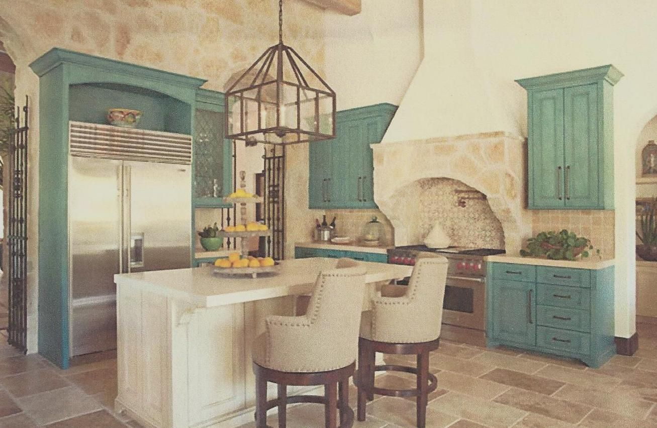 Rustic Teal And Beige Home Teal Kitchen Cabinets Turquoise Kitchen