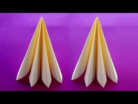 Napkin folding #servettenvouwenkerst Servietten falten: Weihnachten - Tanne - Ti...