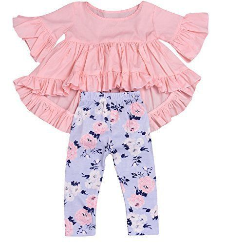 18c31b66928 HappyMA 2PC Toddler Baby Girls Outfit Set Pink Ruffle Irregular Hem Blouse  Top and Floral Pants Clothes