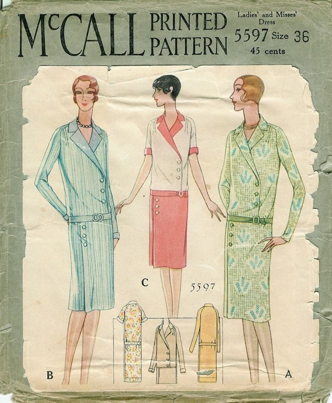 1928 McCall Printed Pattern Ladies\' and Misses\' Dress   1920s ...