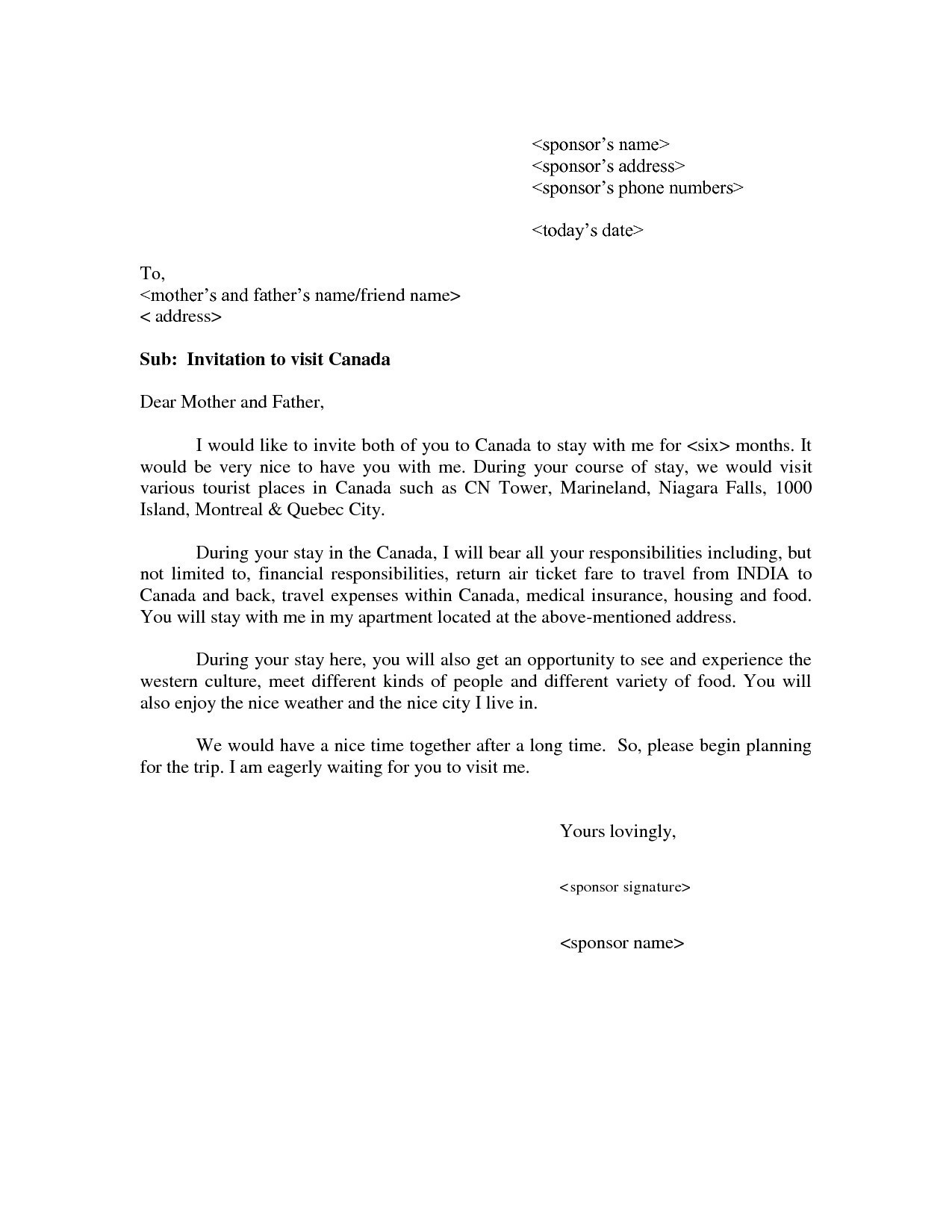 cover letter template for tourist visa