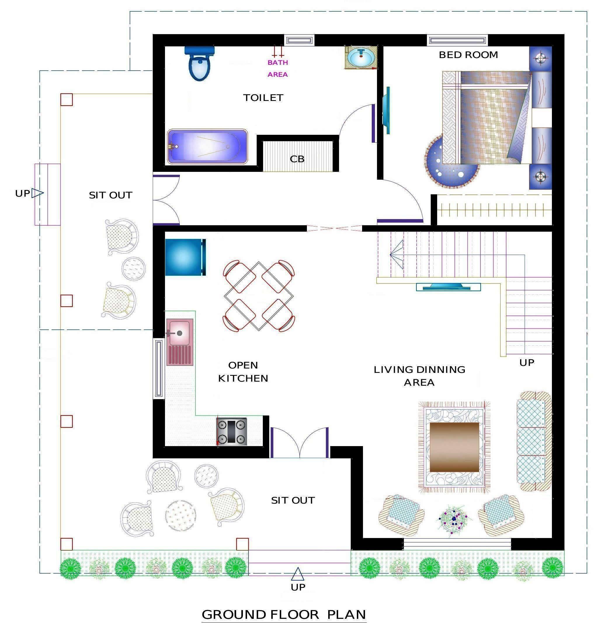 Floor plan simplex 1 floor cottage design click on this for Free floor plan website