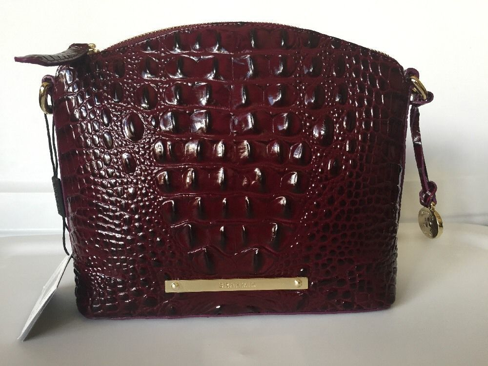 Brahmin Mini Duxbury Crossbody Black Cherry Melbourne Leather Messengercrossbody Handbags