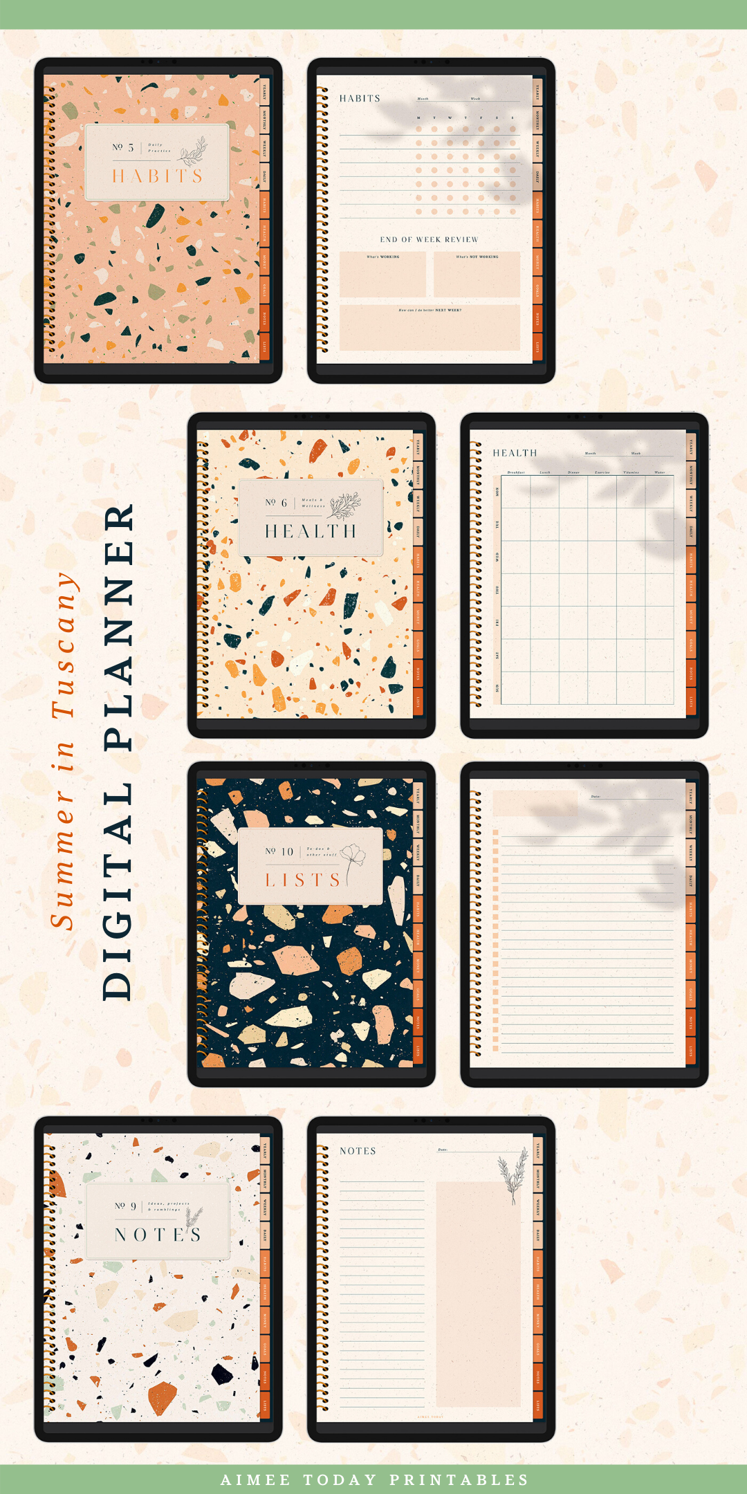 Digital Planner with Summer in Tuscany theme for Goodnotes and | Etsy