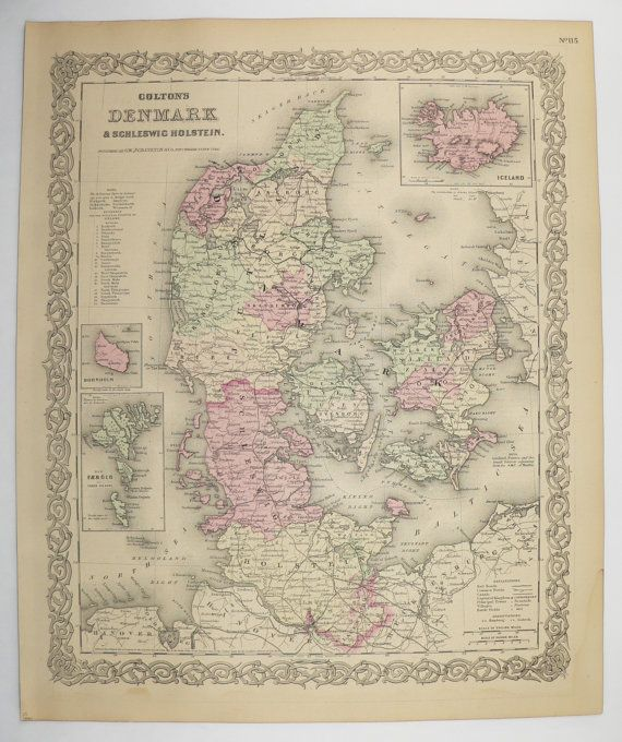 1881 Antique Map Denmark 1881 Colton Map, Original Vintage Map Iceland, Housewarming Gift for Couple, Vintage Danish Décor available from OldMapsandPrints.Etsy.com #Denmark #Iceland #VintageDanishDecor