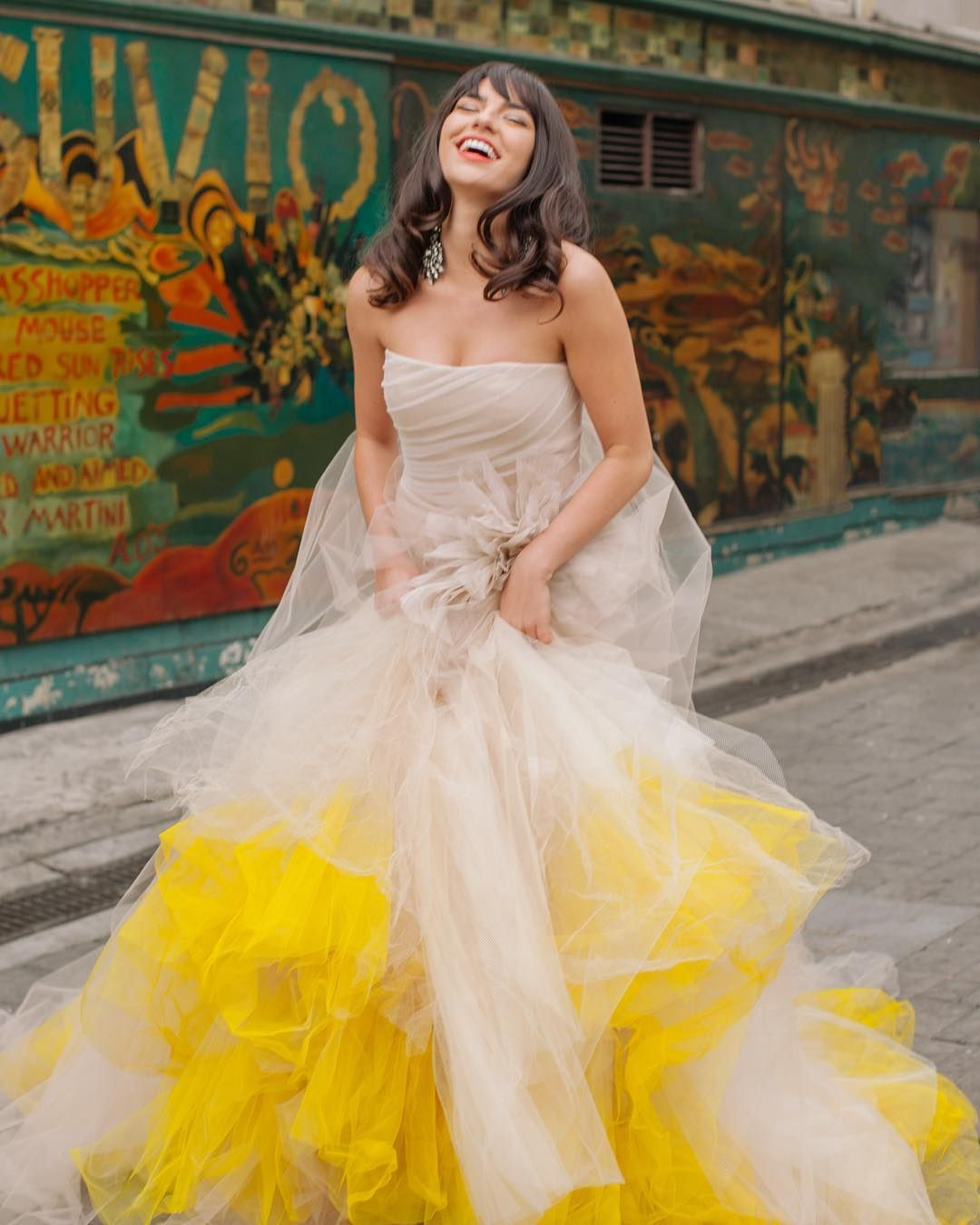 Yellow Color Palette For Your Wedding Camellia Jewelry Yellow Wedding Dress Wedding Dresses Vera Wang Yellow Wedding Inspiration [ 1350 x 1080 Pixel ]