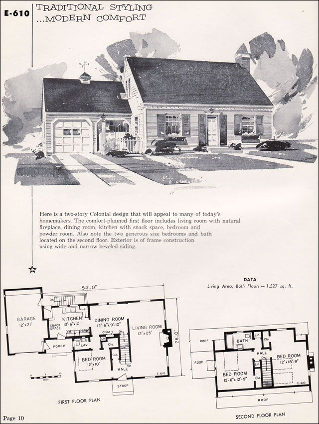 E 610 1955 National Plan Service Homes Of Individuality Vintage House Plans Cape Cod House Plans How To Plan
