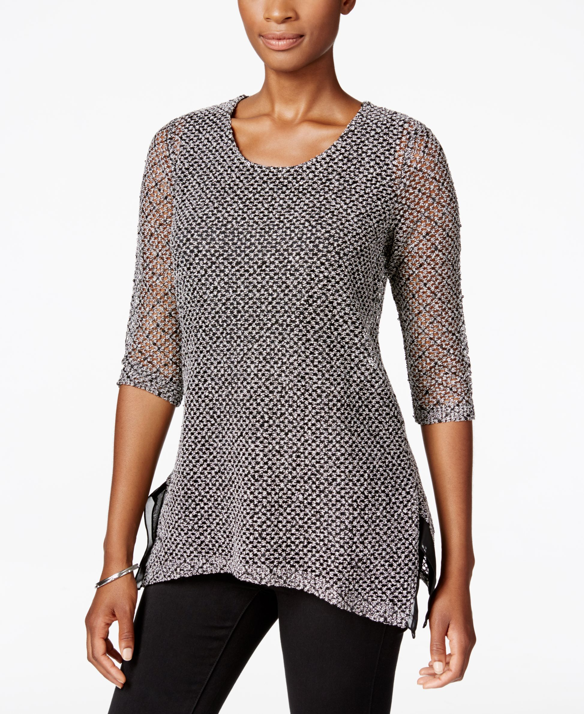 ef67f59e8 Jm Collection Petite Sequined Textured Top
