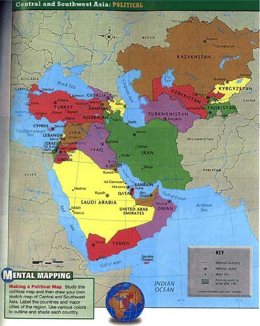 Map Of Southwest Asia: CC includes Afghanistan, Pakistan, India