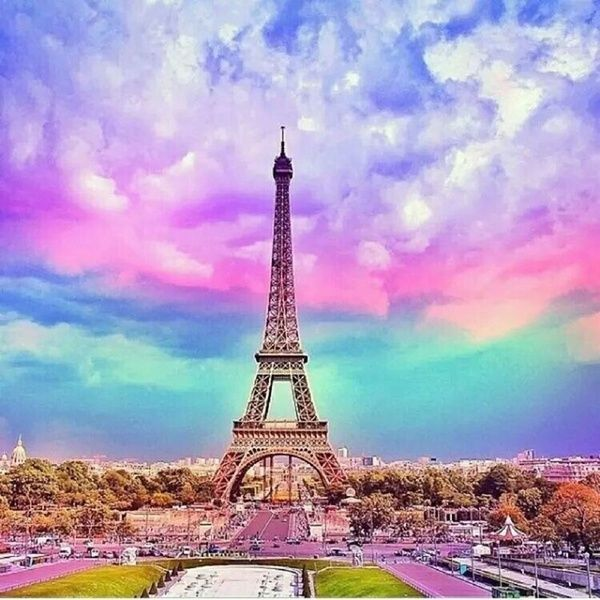 New 5D Tower Diamond Painting Full Round Home Decor Diamond Paint Embroidery Kits Romantic Rainbow Tower Cross Stitch Picture