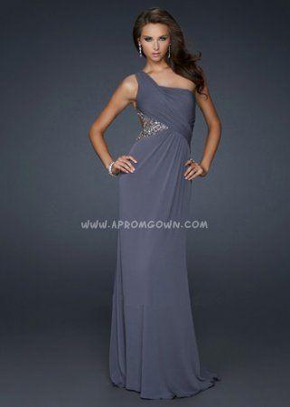 Backless Long Open Back Prom Dress by La Femme 17166 Gunmetal