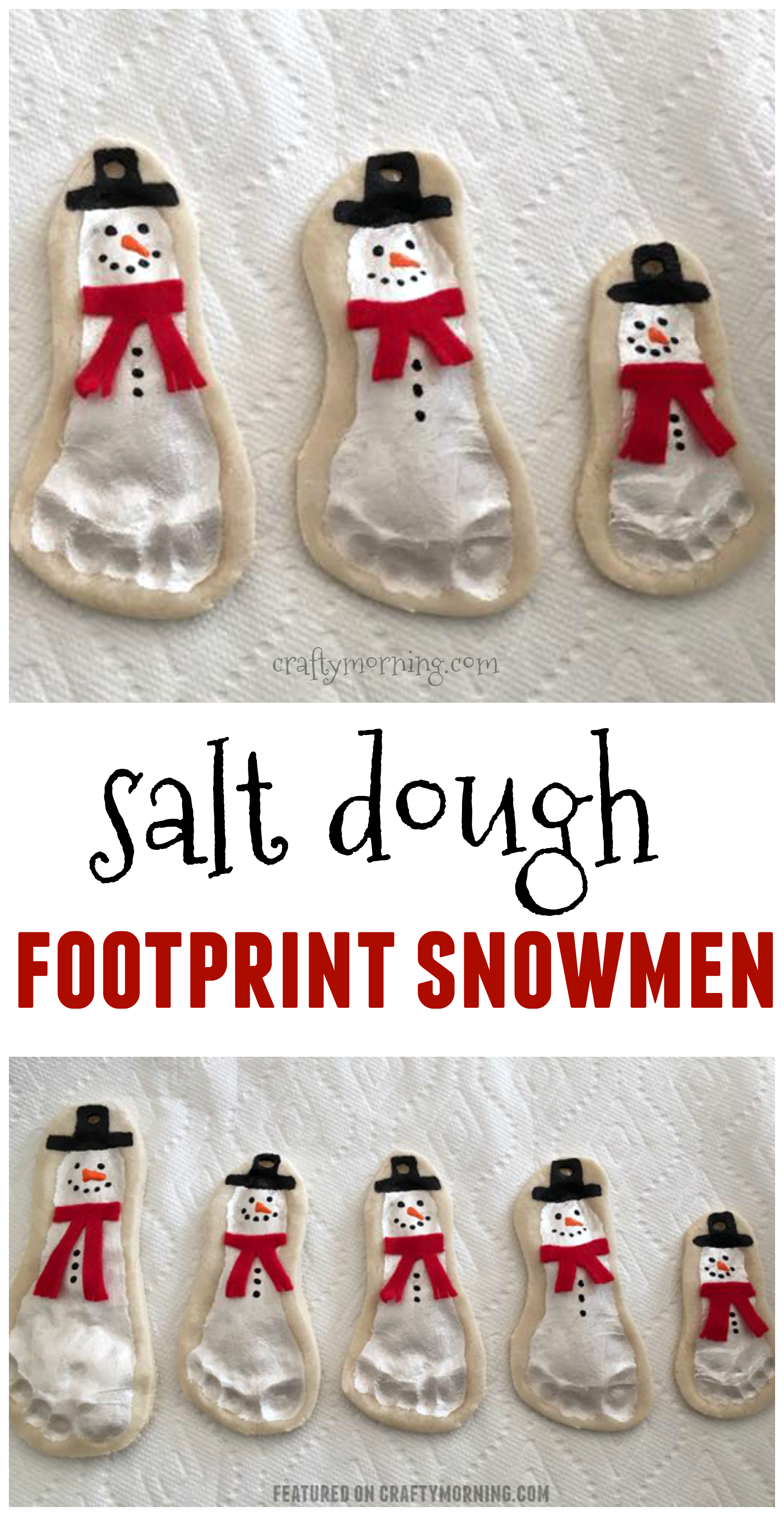 Salt dough footprint snowmen ornaments are adorable cute kids salt dough footprint snowmen ornaments are adorable cute kids craft for christmas solutioingenieria Choice Image