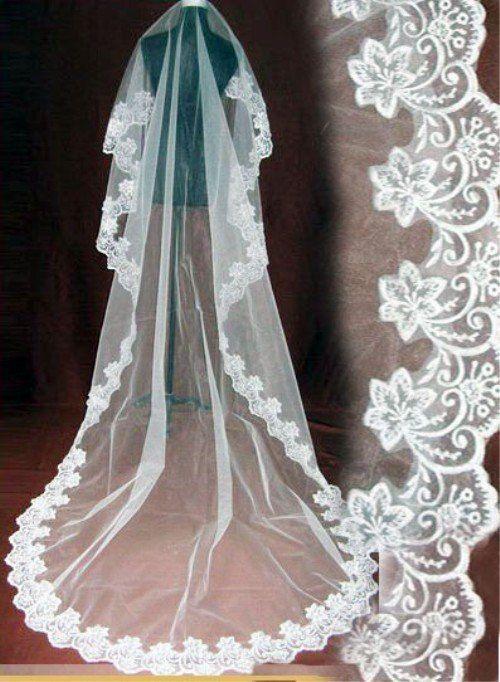3d1863f41d Wedding Bridal 3 Metrów 5 Metrów Długości Jedna Warstwa Veil Ivory Biały  Eleganckie Dodatki Ślubne Velos De Novia woal de mariee
