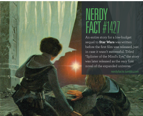 """Nerdy Fact #1427: An entire story for a low-budget sequel to Star Wars was written before the first film was released, just in case it wasn't successful. Titled """"Splinter of the Mind's Eye,"""" in which Luke and Leia crash land on a swamp planet, the..."""