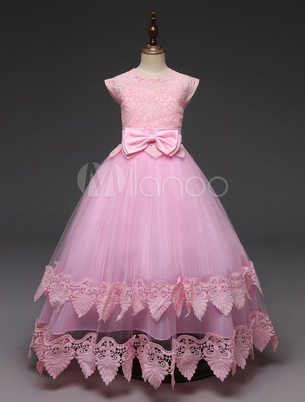 Pink flower girl dresses short sleeve lace bow a line floor length
