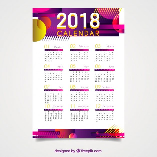 2018 calendar with abstract shapes free vector