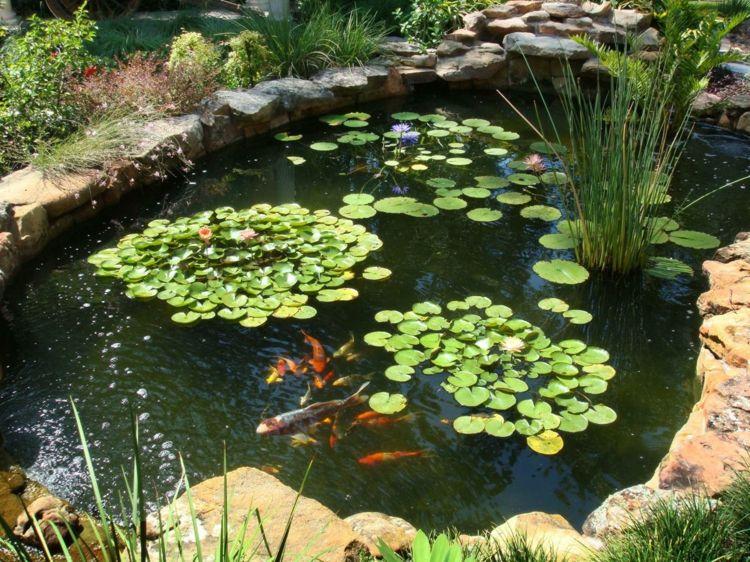 Gartenideen Wasserpflanzen Teich Koiteich anlegen - gartenanlagen mit teich