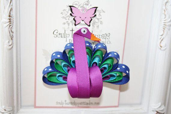 Peacock Bird Ribbon Sculpture Bow. Bird Ribbon Sculpture Bow. Free Ship Promo.. $4.75, via Etsy.