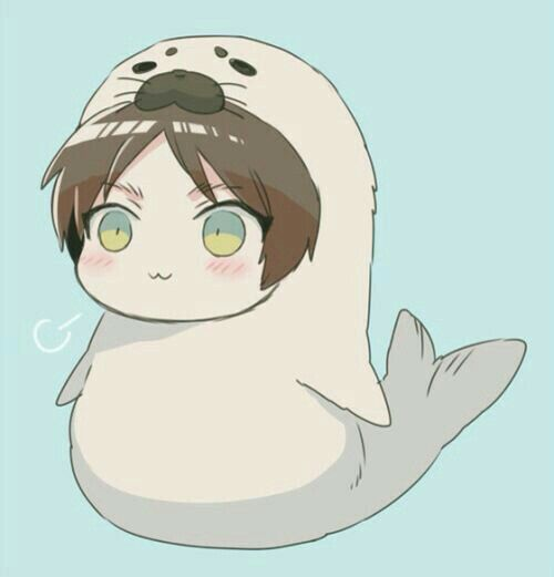 Eren Jaeger Seal Costume Outfit Cute Chibi Blushing Attack