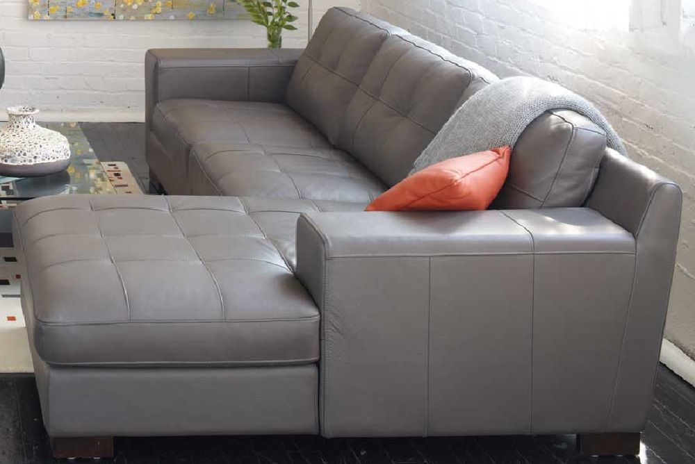Charcoal Grey Leather Sectional