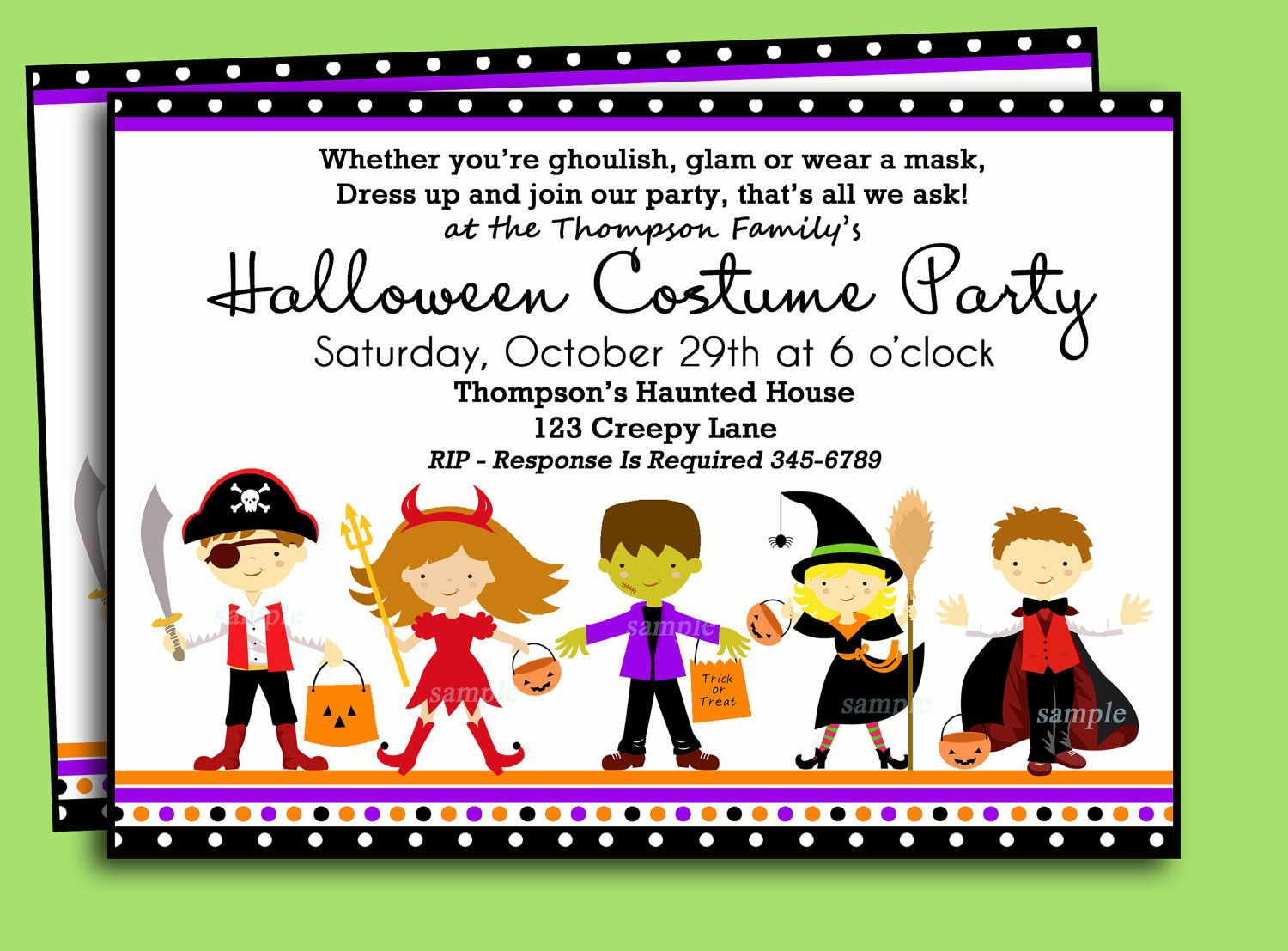 Halloween Kids Costume Party Invitation Printable or Printed with ...
