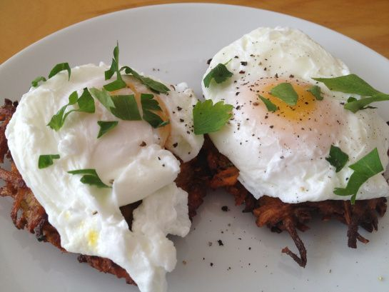 Yam Latkes with Poached Eggs | The Clean Plate