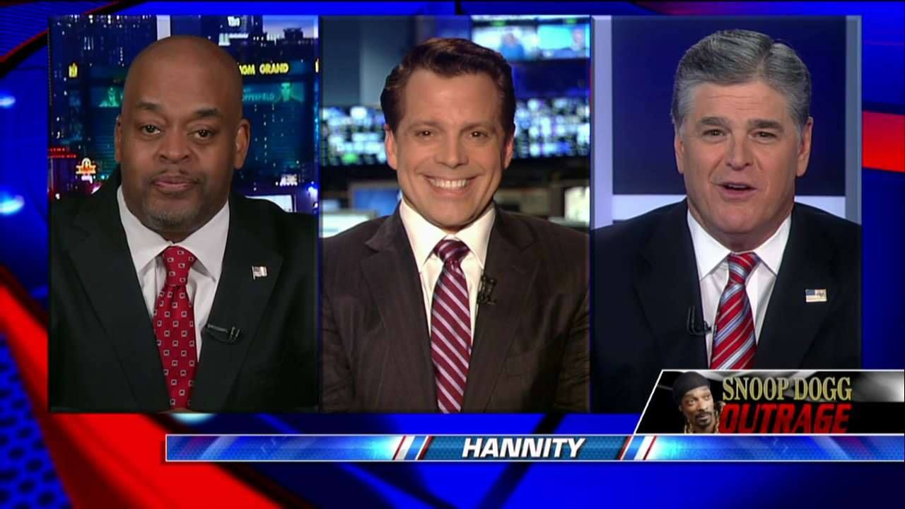"""""""Snoop Dogg, who has come a long way into the mainstream was trying to curry favor with the Hollywood elite.""""  On #Hannity, the panel talks about the controversial new music video which shows the rapper using a toy gun to shoot a clown resembling President Donald J. Trump."""