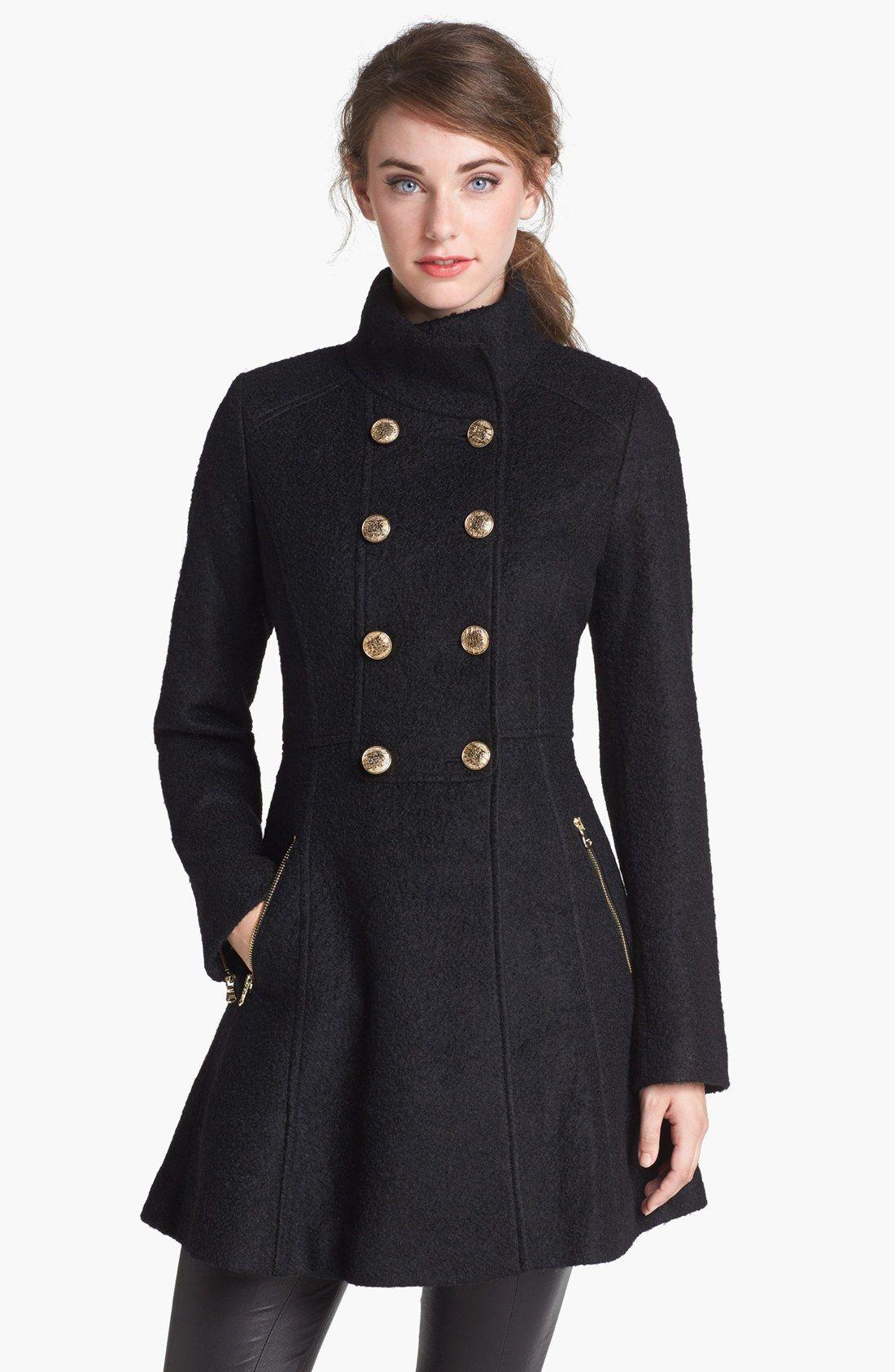Black Fit Flare Bouclé Military Coat - GUESS | Coats/Jackets ...