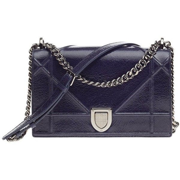 4fb3425bb525 Pre-Owned Christian Dior Diorama Flap Bag Crackled Deerskin Medium (9,435  MYR) ❤ liked on Polyvore featuring bags, handbags, blue, oversized  handbags, ...