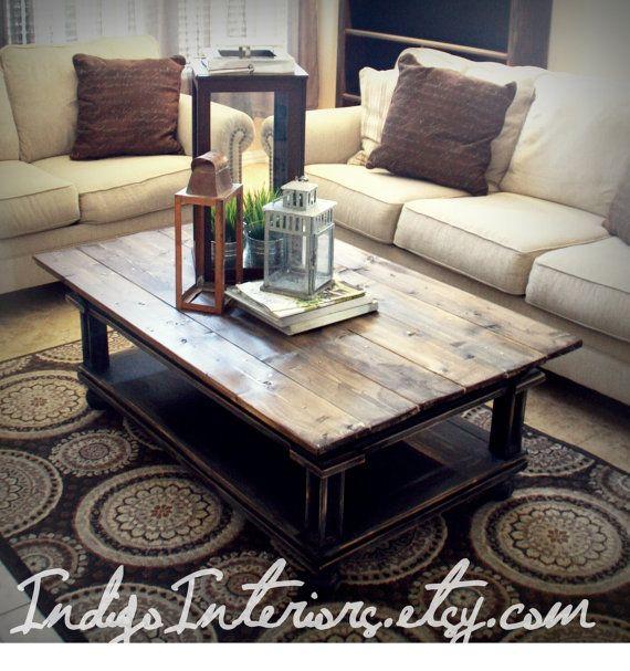 Black And Espresso Farmhouse / Reclaimed Wood Coffee Table