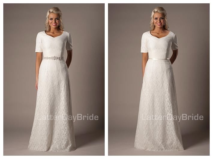 Modest wedding dress austen with and without optional for Cheap lds wedding dresses