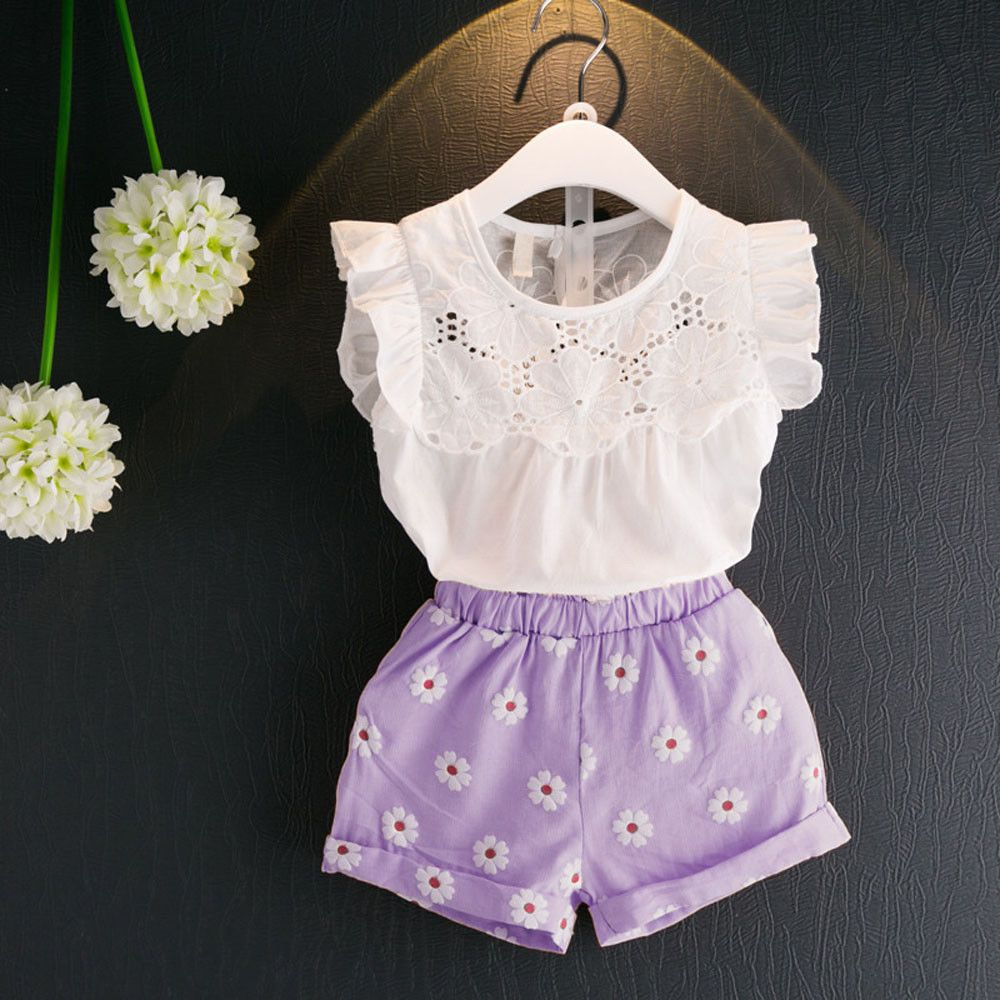 Princess Baby Kids Girl Outfits Summer Blouse Lace T-shirt Tops+Shorts Pants Set