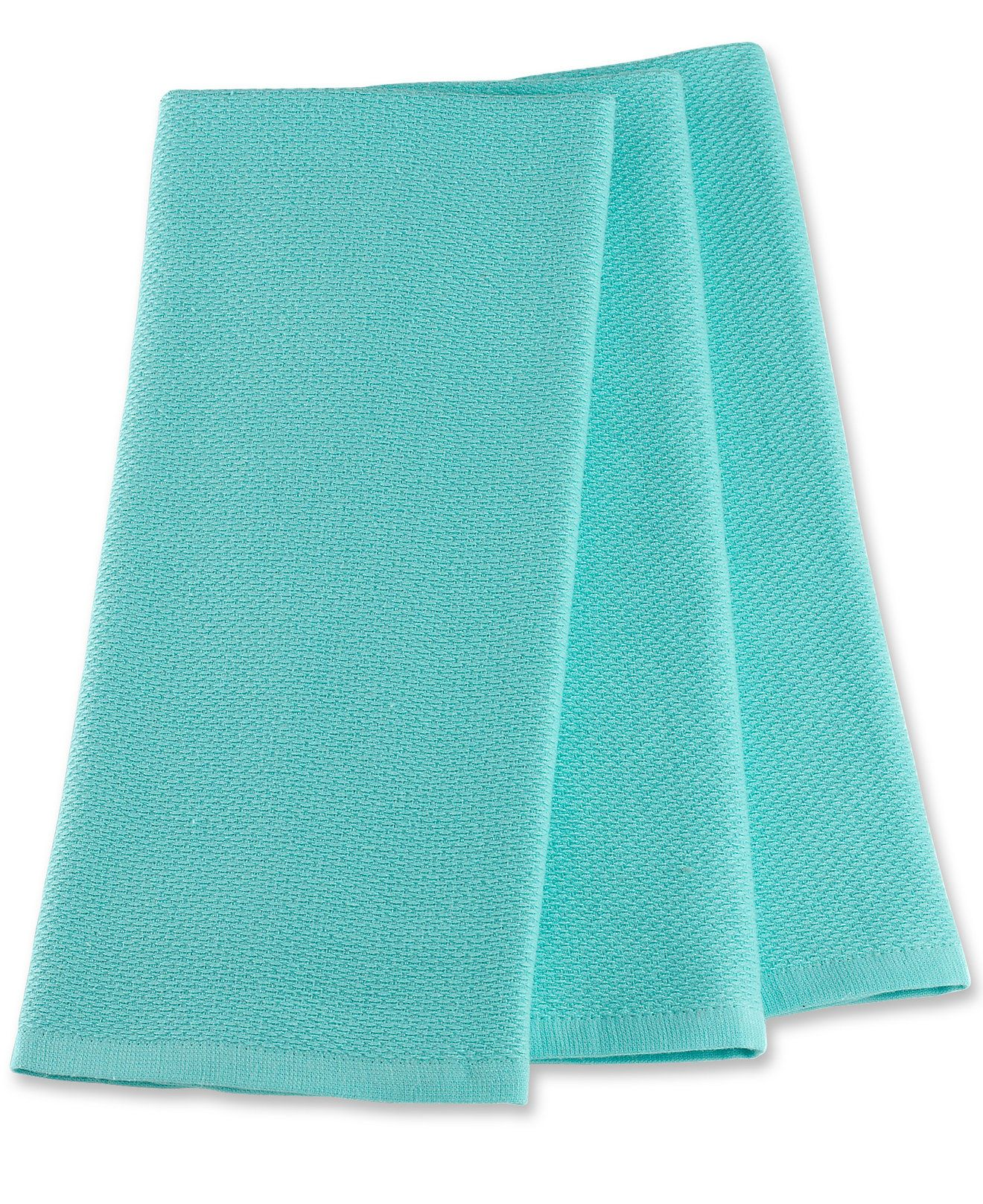 martha stewart collection pique kitchen towels set of 3 aqua